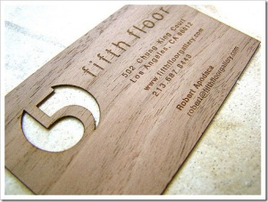 Business cards made from wood